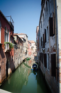 Venice Boat Under Bridge