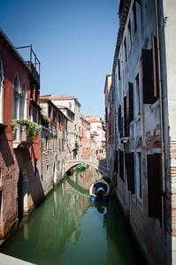 Venice Boat Under Bridge