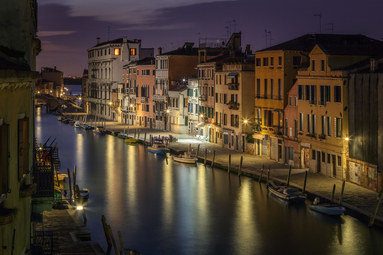 A slight glow of the residual light after sunset in Venice.