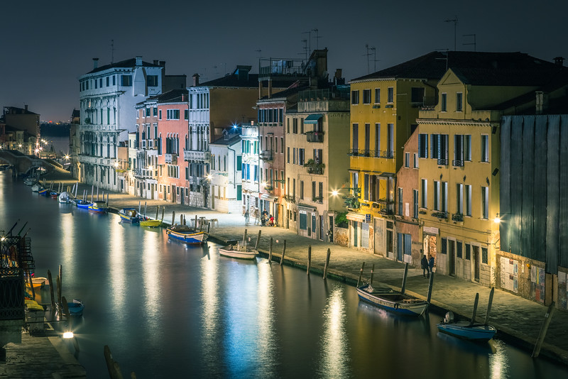 The canal at night from our apartment.