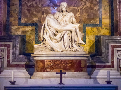 Michelangelo's Pieta, inside St. Peter's Basilica, Vatican City, Rome, IT