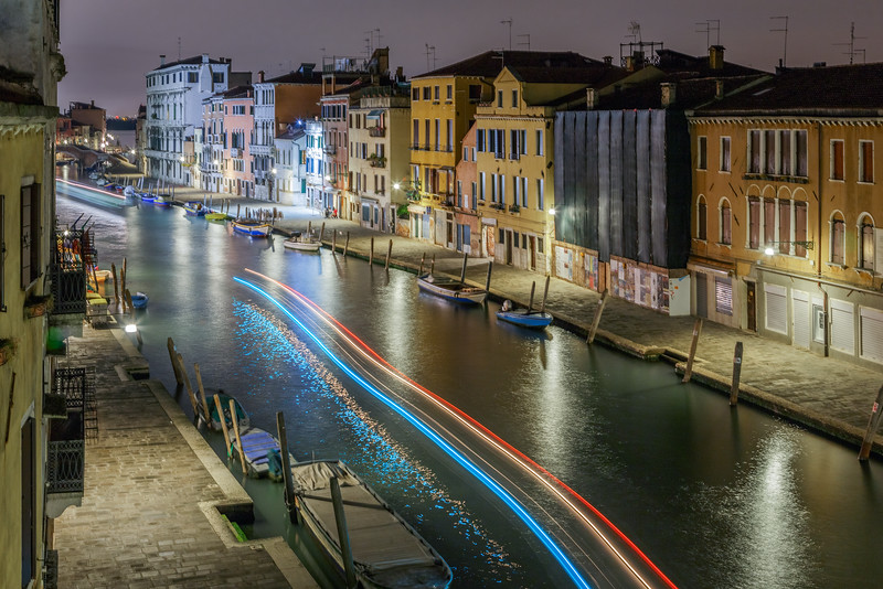 Light trails through the canals of Venice.