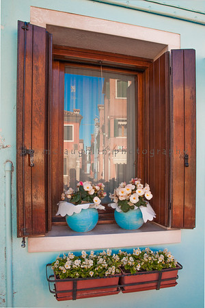 Window Reflections in Blue, Burano, Veneto