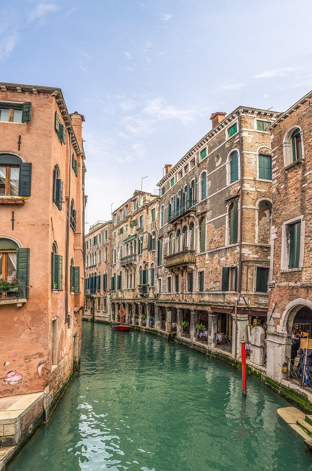 Looking down a canal in Venice.