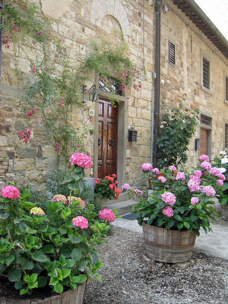 Door,  Flowers in Wine Casks, Tuscany, Italy