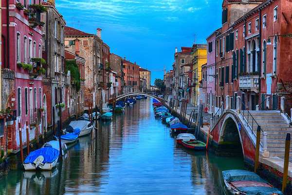 Gorgeous View of the Venice Canal from Bridge