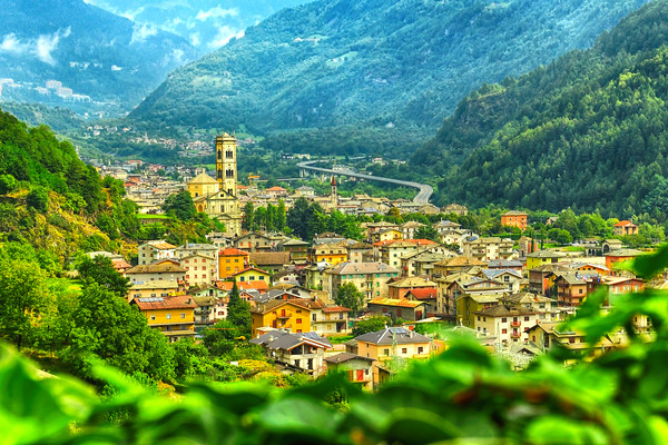 Looking down onto the Town in Italy