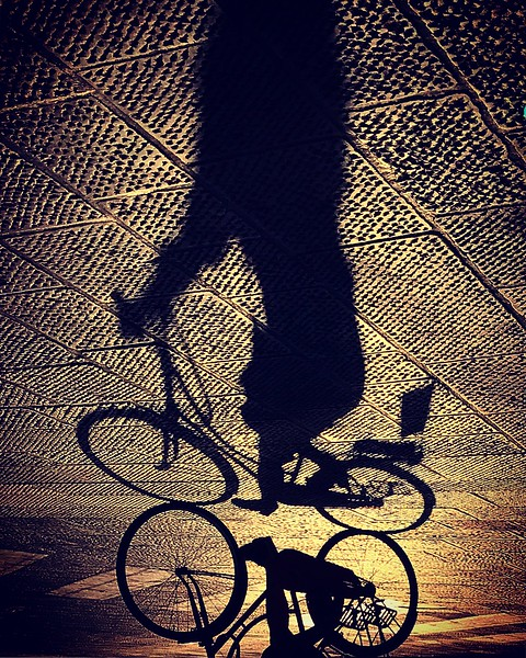 Shadow biker in Florence. 2017.