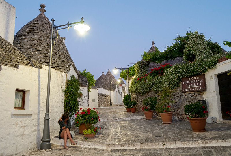 Street with Trulli Houses at Nightfall, Alberobello, Puglia, Italy