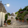 Street with Trulli Houses at Nightfall, Alberobello, Puglia, Italy