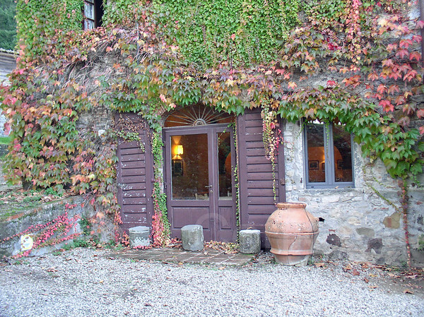 Doors, Ceramic Pot and Ivy, Badia a Coltibuono, Tuscany, Italy