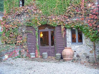Doors, Ceramic Pot and Ivy, Badia a Coltibuono, Tuscany, Italy