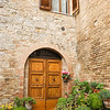 Italian door & window with flowerpots