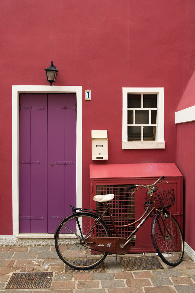 Bicycle and Colourful House Front, Caorle