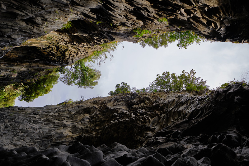 looking up in Alcantara gorge