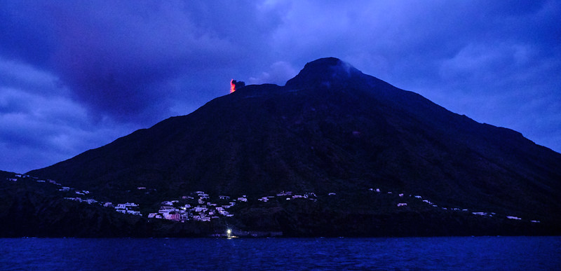 Stromboli eruption at dusk