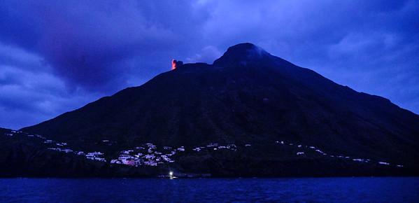 Stromboli eruption at dusk
