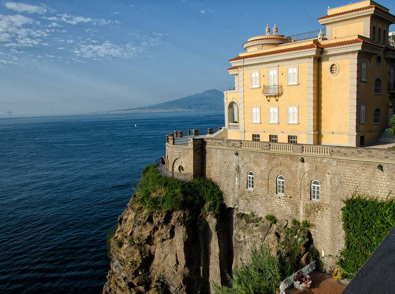 Sorrento -  Besides being well located for regional sightseeing, Sorrento is a beautiful town to stay and stroll - great restaurants and shops - completely safe and relaxed. View from our patio at the Hotel Corallo.