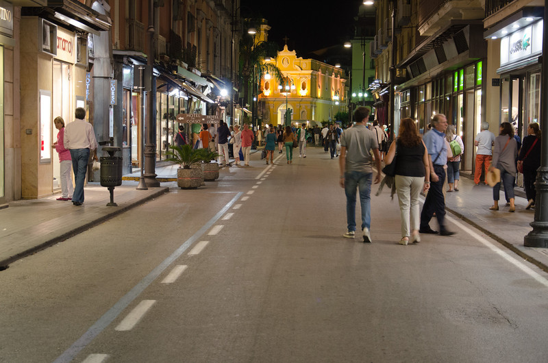 In the evening many of the streets in downtown Sorrento are closed to traffic to encourage everyone to get out and walk around. This shot was taken looking toward Piazzo Tasso (the town center).