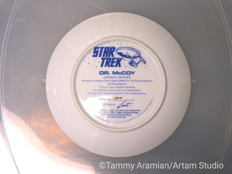 1983 Dr. McCoy plate, back