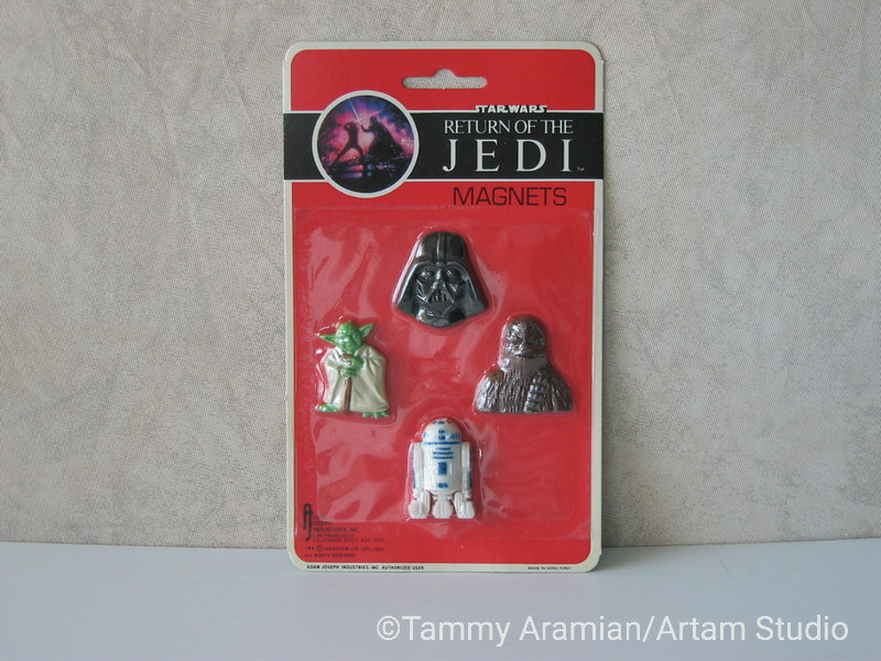 1983 Return of the Jedi magnet 4-pack with Darth Vader head, Chewbacca bust, full Yoda and full R2D2; mint on card. <br /> $12