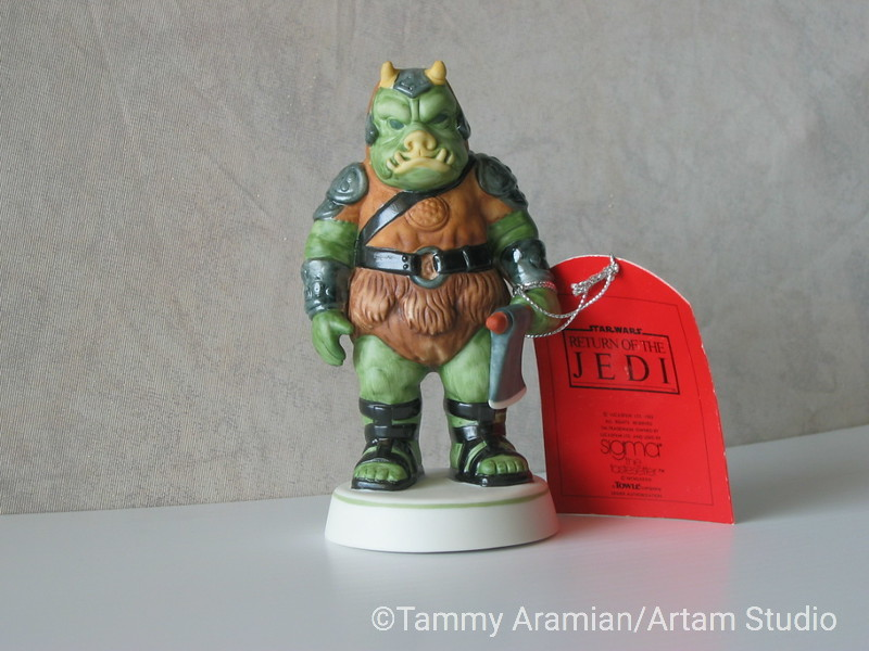 """Sigma 1983 5.5"""" tall ceramic bisque hand-painted figurine of Gamorrean Guard with original hang tag. Return of the Jedi branded. Never displayed, no chips or crazing. <br /> $200"""