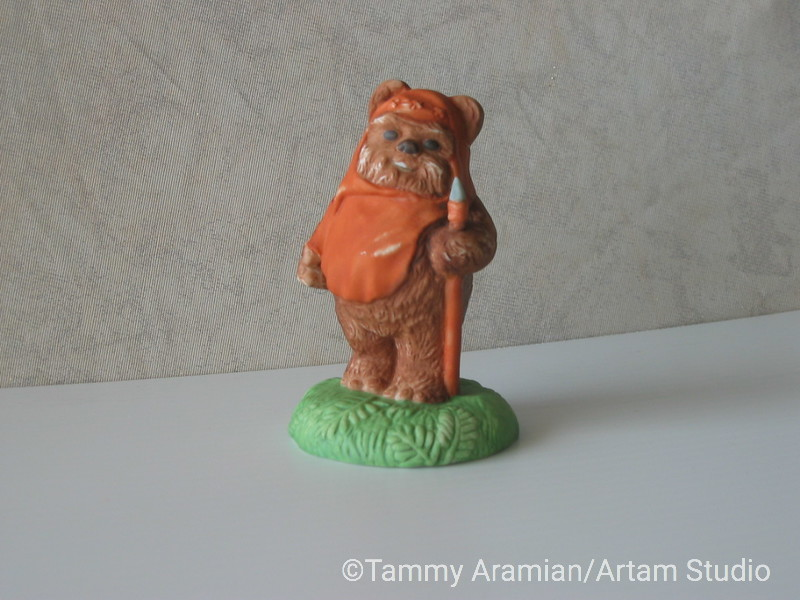"""Sigma 1983 4.5"""" tall ceramic bisque hand-painted figurine of Ewok Wicket Warwick with original hang tag. Return of the Jedi branded. Never displayed, no chips or crazing, spear is intact. <br /> $200"""