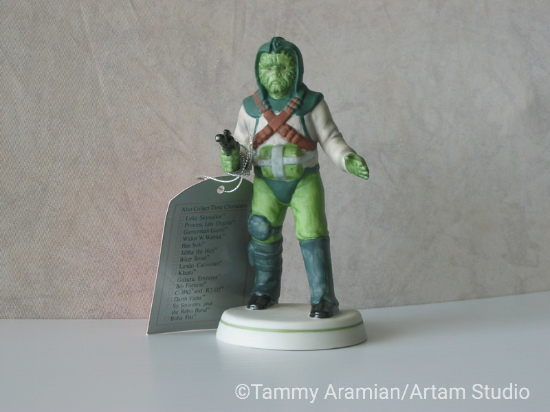 """Sigma 1983 5.5"""" tall ceramic bisque hand-painted figurine of Klaatu with original hang tag. Return of the Jedi branded. Never displayed, no chips or crazing. <br /> $200"""