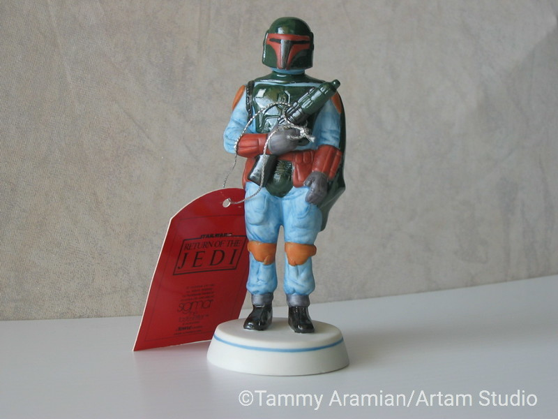 """Sigma 1983 5.5"""" tall ceramic bisque hand-painted figurine of Boba Fett with original hang tag. Return of the Jedi branded. Never displayed, no chips or crazing. <br /> $500"""
