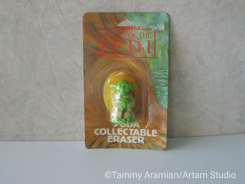 1983 Return of the Jedi Yoda 3D eraser; mint on card. <br /> $12