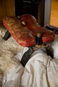 Actual antique camel saddle, authentically worn, red camel leather, includes bell Great curio piece, adds pizaz and intrigue to any room. $110.00     415-378-1003