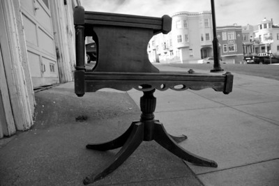 CUTE original Victorian two-tiered hardwood mini-table -- finish a little rough, but completely original, a quirky and interesting piece.  This photo is toned black and white, check previous to see color.    50.00