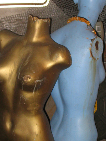 Two torsos for art.  The blue one is a fountain, and is filled with water connections.  make offer.