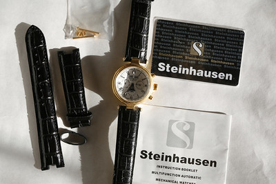 Brand new mechanical self winding Steinhausen does everything shamelessly classy timepiece with glass back to watch works, sells for nearly three hundred dollars, I have extra band all documentation and accessories see previous photos 150 dollars no tax.
