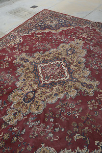 Giant, brilliantly colored antique rug... needs cleaning and beating.  see previous photos