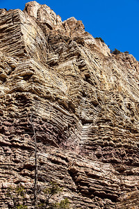 layered sedimentary sandstone in Glenwood Canyon wall
