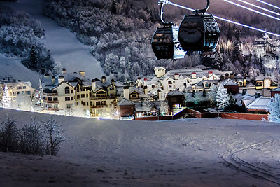 Beaver Creek gondola at night in winter