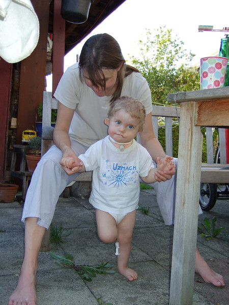Monday 15th July 2007 - Cai does an impression of a stalk, He stood like this for as long as he could, he doesn't like new things and didn't want to put his foot on the weed underneath him. It was funny to watch his antics as he tried to avoid the weed.