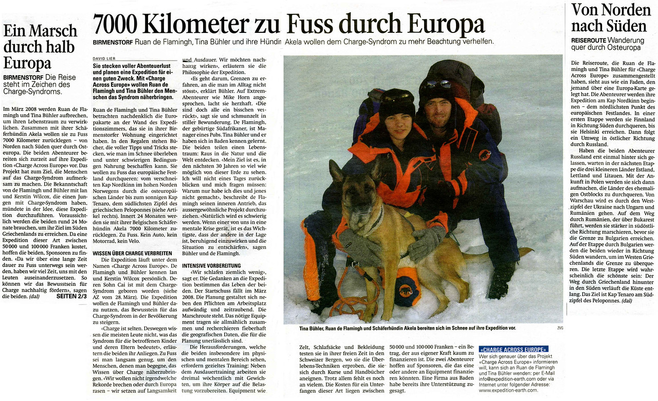 Sunday 1st April 07 - Yesterday the AZBaden newspaper supplement published the second article in the series, this one is about the walk or rather Charge across Europe
