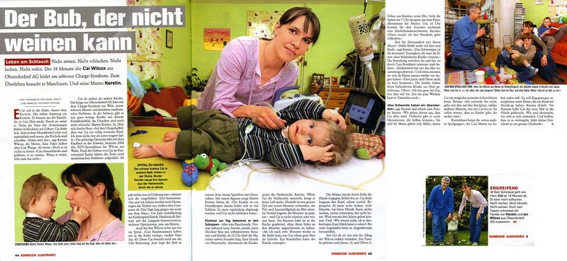"Thursday 19th Apr 2007 - Here is Cai's article from last week in a national swiss magazine. The title is ""the boy who can't cry"".<br /> <br /> There were a few inaccuracies in the article, it has been sensationalised and Kerstin Photoshopped but it has reached over a million readers in switzerland - who are at least aware of charge, it's a shame though that they wouldn't mention the walk ""charge across Europe"".<br /> <br /> We won't be doing any more such articles for a while due to Cai becoming ill after this one.<br /> <br /> English translation of article should be available next week."
