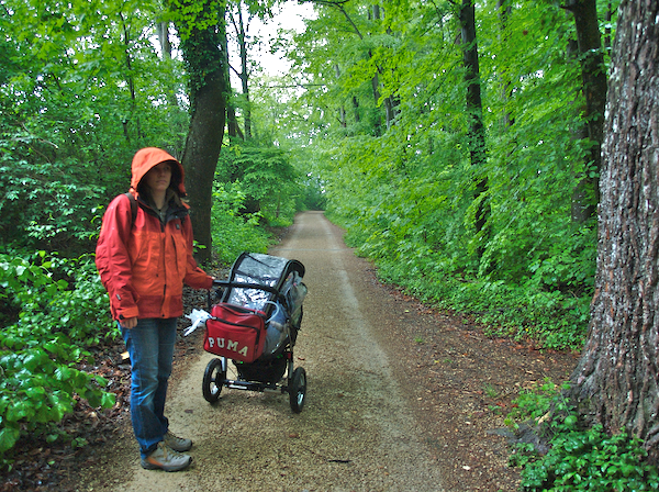 Monday 14th May 2007 - walking in the rain.<br /> <br /> We had a chance to test out the rain cover for Cai's pram last weekend when we were invited to Claudia's birthday party in a forest hut.<br /> <br /> sadly Cai was having trouble breathing, so once again we had to leave before dessert - or maybe Cai just thinks I should be on a diet. He improved once we were outside, but he is not 100 percent and has a lot of gunge sitting somewhere in his lungs. last night he needed oxygen the whole night, but this morning he coughed a lot of stuff out and seems a little better.<br /> <br /> Not forgetting all you MOTHERS out there happy Mother's day especially to my mum and my mother in law - I think that covers it!