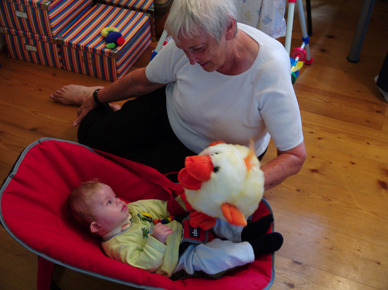 Tuesday 11th July 2006 - nanan shows Cai the singing Duck his Auntie Trudi had given him, the first time he saw this was quite funny - wish I had videoed it, he doesn't react the same to it now.