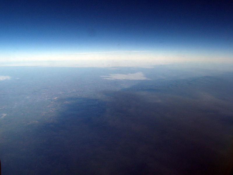 Sunday 11th Dec 05 - A picture showing the black smoke taken as we flew over the huge smoke cloud in the UK.