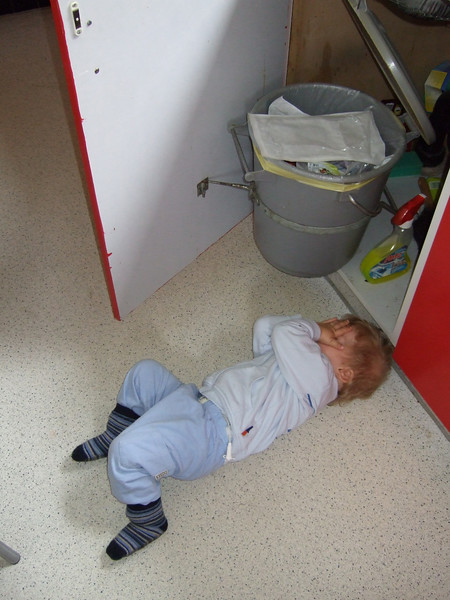 Monday 10th Sep 2007 - It wasn't me - Cai realises that someone may see him and covers his face in a bid to avoid detection<br /> <br /> Should we tell him that doesn´t work, maybe later, lets not spoil it for him now.