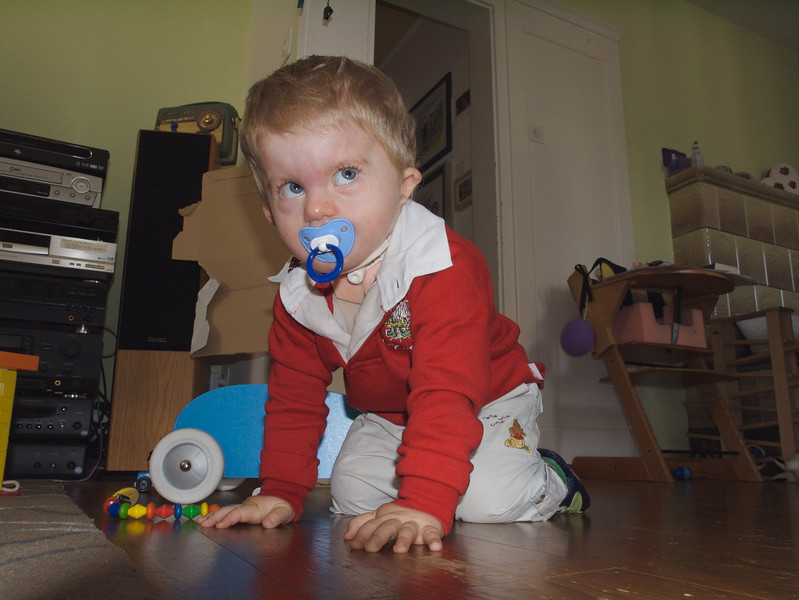 Sunday 7th Oct 2007 - Cai continues to surprise us, now he is starting to crawl. This is difficult for canula children so we are very pleased to see this.<br /> <br /> We are still waiting for an appointment for Cai´s hearing aid fitting, but we have been assured that they have been ordered. Cai also went for a routine check up and assessment. Everyone is pleased with how he is progressing and  we hope they don´t cut his physiotherapy funding.<br /> <br /> This weekend there was a toy fair so we took the boys along for a visit.