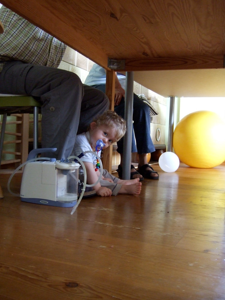 Monday 27th Aug 2007 - Under the table - LIKE father LIKE son :-)