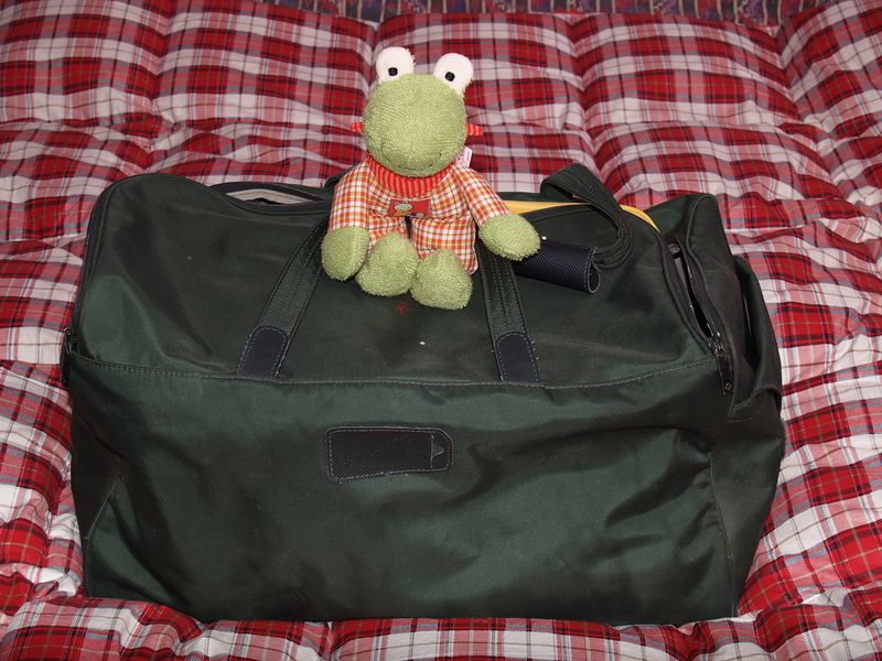 Kerstin's bag is packed and ready to go, complete with Itsy's first cuddly toy.