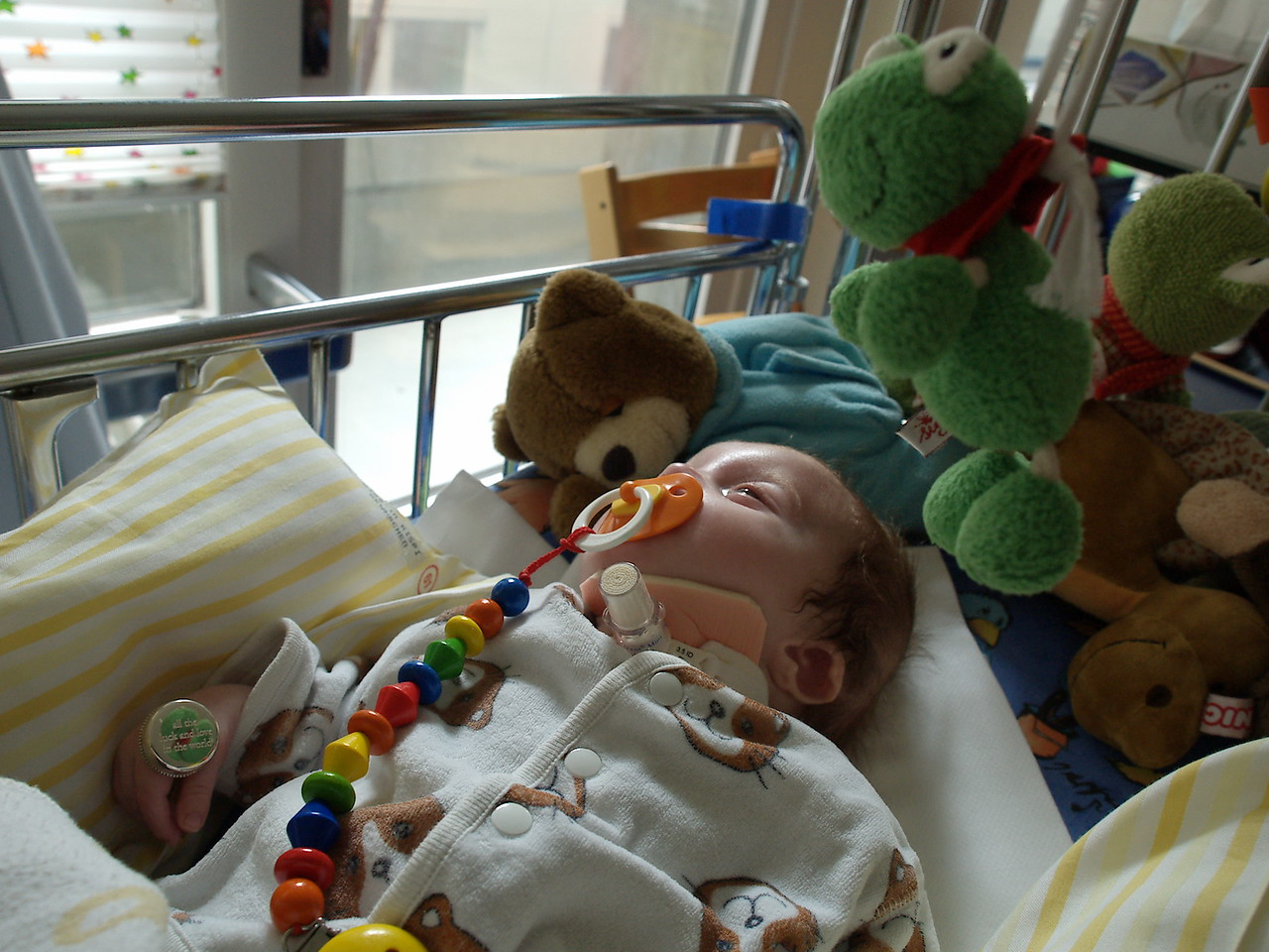 Thursday 2nd Feb 2006 - Now you can see who has been keeping a watch over Cai when we are not there and before you all write in that we are leaving him all alone with a frog and other cuddly toys I meant along with all the nurses of course ;-)