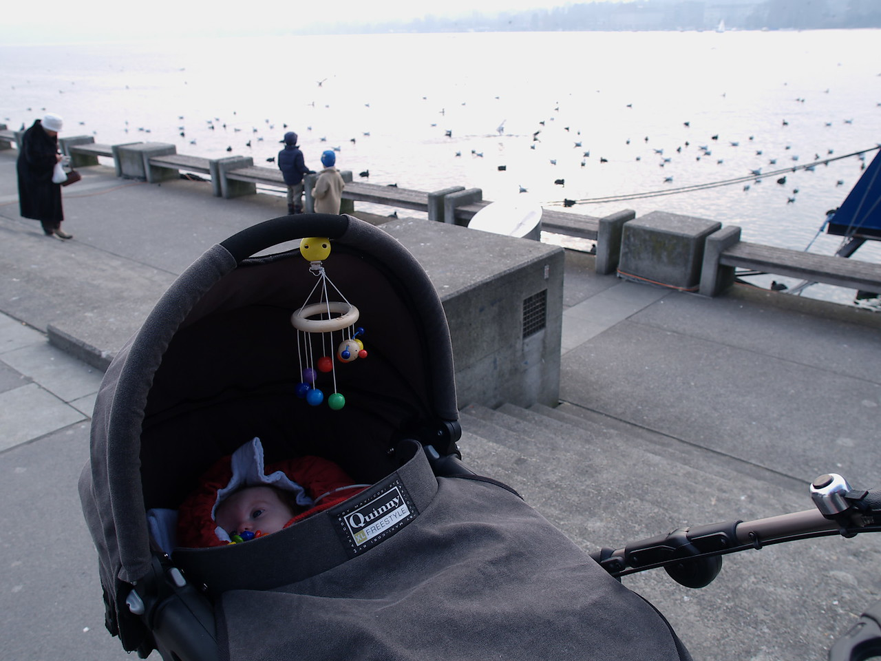 Sunday 29th January 2006 - We show Cai the lake of Zürich. I was hoping to make a better picture, but Cai was getting restless and needed sucking off a lot so we had to take a snapshot and run.<br /> <br /> Well after a weeks deliberation we have pretty much decided that we should go with the recommended path of Cai having another operation to correct his reflux so he won't be coming home as we had hoped and planned for on the 4th of February. He will need a minimum of five weeks in hospital to recover from the next operation. We will move on to the next stage but it has been a bit stressfull at home this week with both Kerstin and myself not being in the best of moods. We speak to the doctors tomorrow to let them know what we have decided.