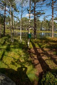 Postkasse ved tjønna på Berefjell 400 m.o.h.